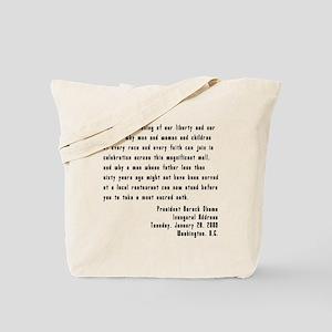 Obama Inaugural Speech Tote Bag