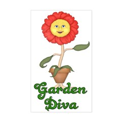 Garden Diva Rectangle Decal