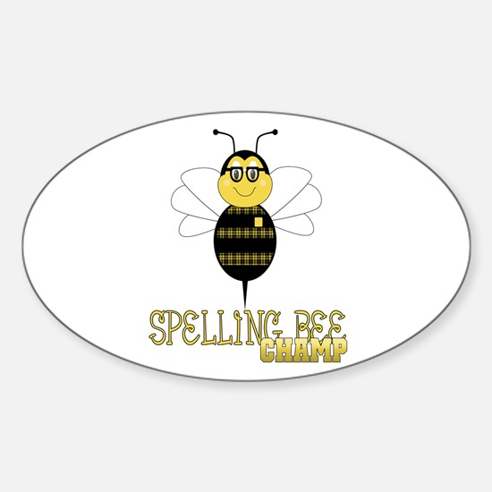 Spelling Bee Champ Oval Decal