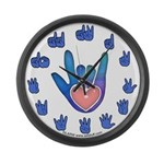 Blue/Pink Glass ILY Hand Large Wall Clock