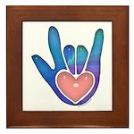 Blue/Pink Glass ILY Hand Framed Tile