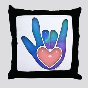 Blue/Pink Glass ILY Hand Throw Pillow