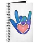 Blue/Pink Glass ILY Hand Journal