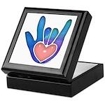 Blue/Pink Glass ILY Hand Keepsake Box