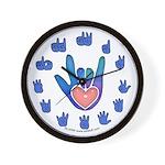 Blue/Pink Glass ILY Hand Wall Clock
