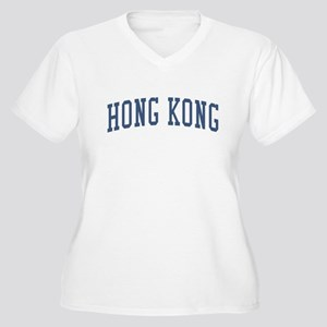 Hong Kong Blue Women's Plus Size V-Neck T-Shirt