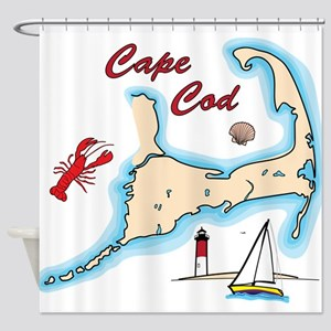 Cape Cod Map Illustration Lobster S Shower Curtain