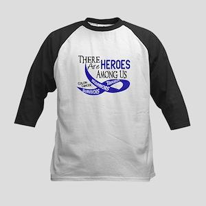 Heroes Among Us COLON CANCER Kids Baseball Jersey