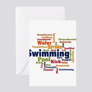 Swimming Word Cloud Greeting Cards