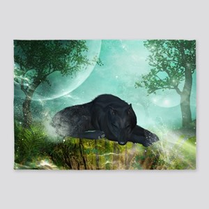 Awesome sleeping wolf in the night 5'x7'Area Rug