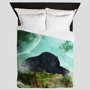 Awesome sleeping wolf in the night Queen Duvet