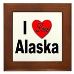 I Love Alaska Framed Tile