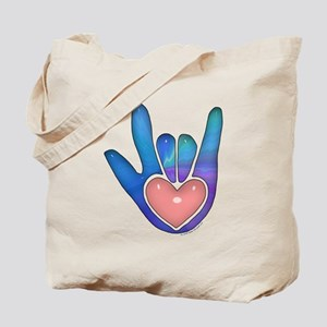 Blue/Pink Glass ILY Hand Tote Bag