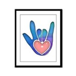 Blue/Pink Glass ILY Hand Framed Panel Print