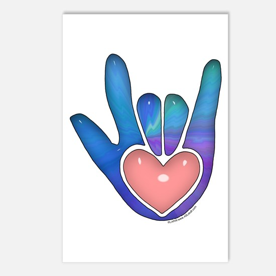 Blue/Pink Glass ILY Hand Postcards (Package of 8)