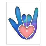 Blue/Pink Glass ILY Hand Small Poster