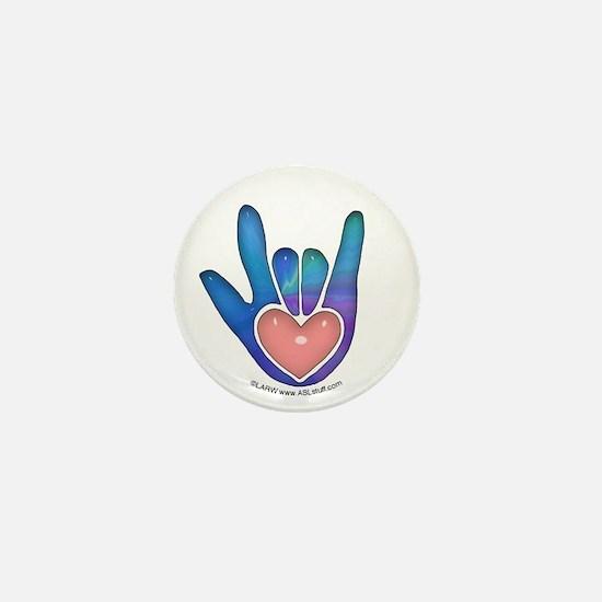 Blue/Pink Glass ILY Hand Mini Button