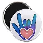 Blue/Pink Glass ILY Hand 2.25