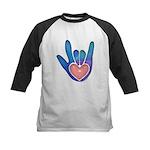 Blue/Pink Glass ILY Hand Kids Baseball Jersey