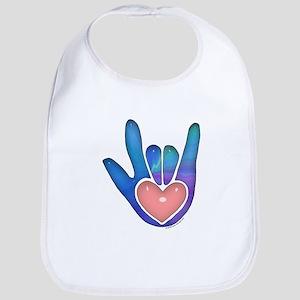 Blue/Pink Glass ILY Hand Bib