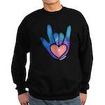 Blue/Pink Glass ILY Hand Sweatshirt (dark)