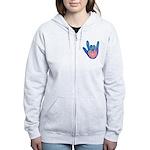 Blue/Pink Glass ILY Hand Women's Zip Hoodie