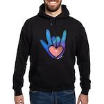 Blue/Pink Glass ILY Hand Hoodie (dark)