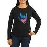 Blue/Pink Glass ILY Hand Women's Long Sleeve Dark