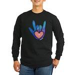 Blue/Pink Glass ILY Hand Long Sleeve Dark T-Shirt