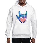 Blue/Pink Glass ILY Hand Hooded Sweatshirt