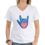 Blue/Pink Glass ILY Hand Women's V-Neck T-Shirt