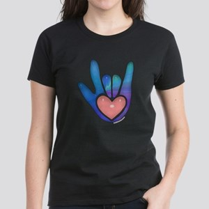 Blue/Pink Glass ILY Hand Women's Dark T-Shirt
