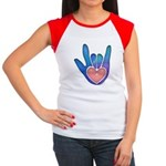 Blue/Pink Glass ILY Hand Women's Cap Sleeve T-Shir
