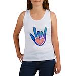 Blue/Pink Glass ILY Hand Women's Tank Top