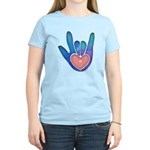 Blue/Pink Glass ILY Hand Women's Light T-Shirt