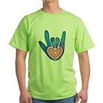 Blue/Pink Glass ILY Hand Green T-Shirt