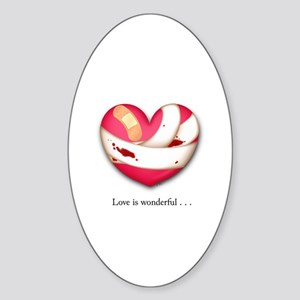 Love is Wonderful Oval Sticker