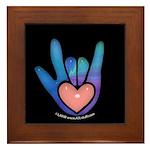 Blue/Pink Glass ILY Hand Black Framed Tile