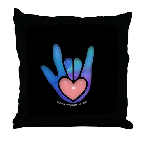 Blue/Pink Glass ILY Hand Black Throw Pillow