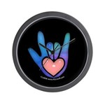 Blue/Pink Glass ILY Hand Black Wall Clock