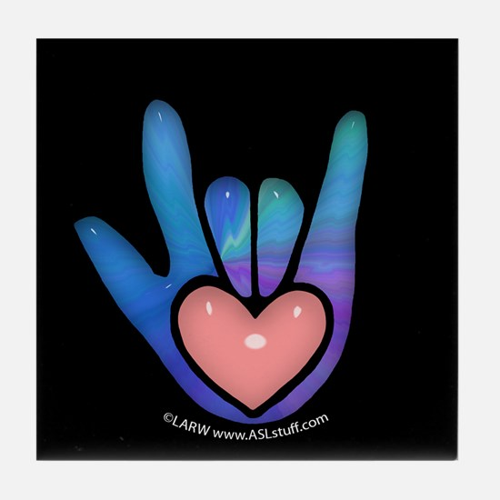 Blue/Pink Glass ILY Hand Black Tile Coaster