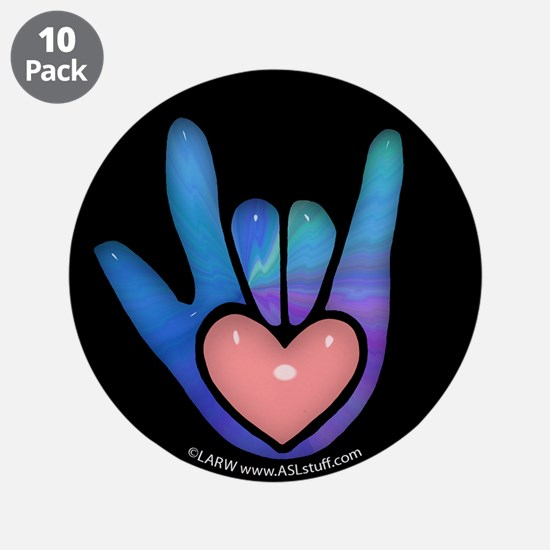 """Blue/Pink Glass ILY Hand Black 3.5"""" Button (10 pac"""