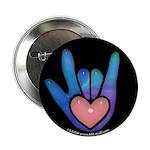 Blue/Pink Glass ILY Hand Black 2.25