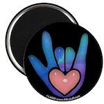 Blue/Pink Glass ILY Hand Black Magnet