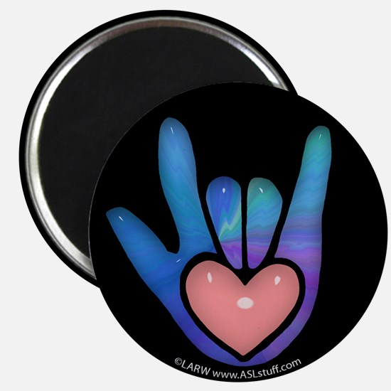Blue/Pink Glass ILY Hand Black Magnet