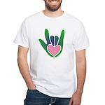 Green/Pink Heart ILY Hand White T-Shirt