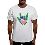 Green/Pink Heart ILY Hand Light T-Shirt