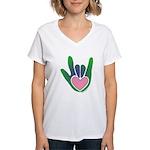 Green/Pink Heart ILY Hand Women's V-Neck T-Shirt