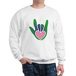 Green/Pink Heart ILY Hand Sweatshirt