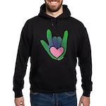 Green/Pink Heart ILY Hand Hoodie (dark)